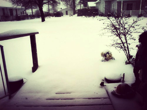 This was taken by my nana, as you can see, there's no end to the ramp. Just a white sheet of snow.