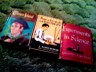 Treasure Island by Robert Louis Steveson, Things A Boy Can Do With Electricity by Alfred Morgan, and Experiments In Science by Nelson F. Beeler & Franklyn M. Branley