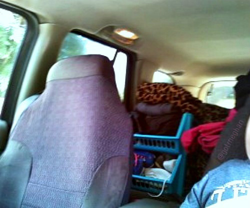 I took this just before we left and this was my mom's backseat and this picture doesn't even give it justice as to how full it was back there, but it wasn't as bad as Plummer.