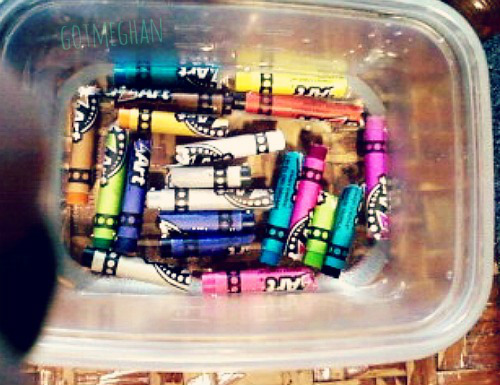 The pretty crayons soaking in their nice bath.