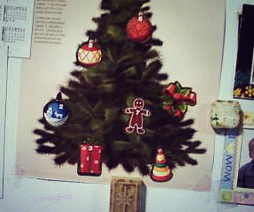 My nana's Advent Calendar hanging up on her fridge. This picture was taken on Saturday (6th)