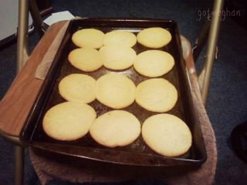 The cookies just coming out of the oven.