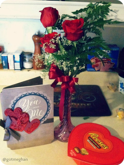 My dad got my mom a rose, card and Blondie got her a heart shaped Reese's cup.