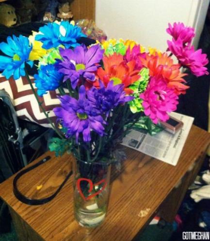 The pretty flowers that Batman got my mom!