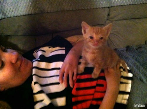 Myself and Otis watching DWTS last week! He's so tiny!